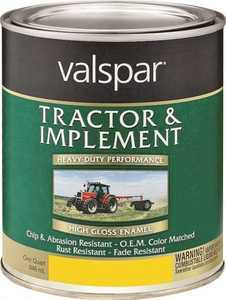 Valspar 4432-07 Interior/Exterior Tractor And Implement Enamel Paint Transport Yellow High-Gloss Finish Quart