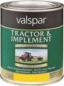 Valspar 4432-06 Interior/Exterior Tractor And Implement Enamel Paint John Deere Yellow High-Gloss Finish Quart