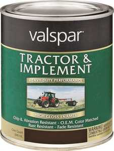 Valspar 4432-16 Interior/Exterior Tractor And Implement Enamel Paint Gloss Black High-Gloss Finish Quart