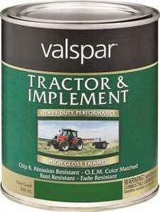 Valspar 4432-10 Interior/Exterior Tractor And Implement Enamel Paint John Deere Green Hogh-Gloss Finish Quart