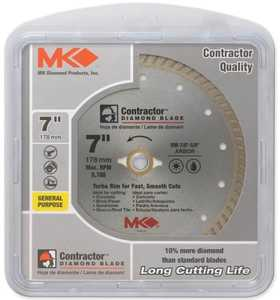 Mk Diamond 167022 Turbo Rim Circular Saw Blade 7 In