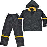 Custom Leathercraft R1032X Black 3 Pc Nylong Rain Suit2xl
