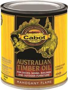 Cabot 3459 Exterior Australian Timer Oil Wood Stain Mahogany Flame Flat Finish Quart