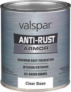 Valspar 21829 Armor Anti-Rust Oil Based Enamel Paint Gloss Clear Base 1 Qt