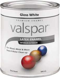 Valspar 65000 Premium Latex Enamel Paint Gloss White 1 Qt