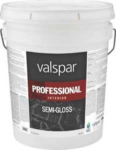 Valspar 11900 Professional Interior Latex Paint Semi-Gloss Hi Hide White 5 Gal