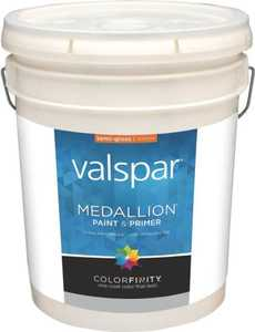 Valspar 2400 Medallion Interior Latex Paint Semi-Gloss White 5 Gal