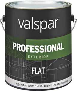 Valspar 12600 Professional Exterior Latex Paint Flat White 1 Gal