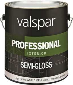 Valspar 12900 Professional Exterior Latex Paint Semi-Gloss White Gallon