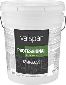 Valspar 12900 Professional Exterior Latex Paint Semi-Gloss White 5 Gal