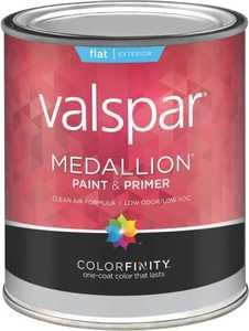 Valspar 45501 Medallion Exterior Latex Flat Paint And Primer In White 1 Quart