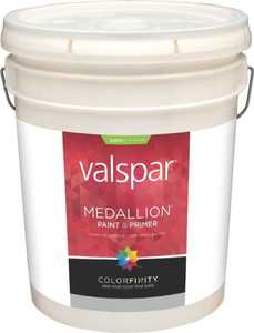 Valspar 4100 Medallion Exterior Latex Paint Satin White 5 Gal
