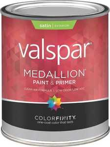 Valspar 4105 Medallion Exterior Latex Paint Satin Clear Base 1 Qt