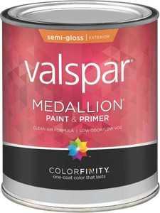 Valspar 4300 Medallion Exterior Latex Paint Semi-Gloss White 1 Qt