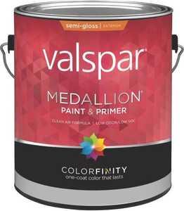 Valspar 4302 Medallion Exterior Latex Paint Semi-Gloss Tint Base 1 Gal