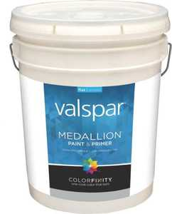 Valspar 1400 Medallion Interior Latex Paint Flat White 5 Gal
