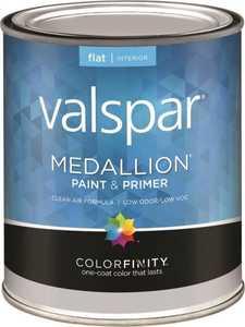 Valspar 1408 Medallion Interior Latex Paint & Primer Flat Pastel Base Qt