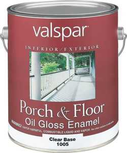 Valspar 1005 Porch and Floor Interior/Exterior Oil Enamel Paint Gloss Clear Base 1 Gal