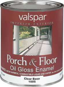Valspar 1005 Porch and Floor Interior/Exterior Oil Enamel Paint Gloss Clear Base 1 Qt