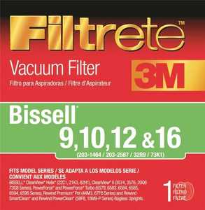 3M 66809B-2 Filtrete Bissell Type 9, 10, 12, And 16 Vacuum Cleaner Filter