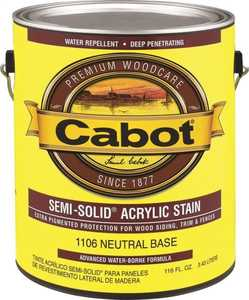 Cabot 1106 Exterior Acrylic Wood Stain Neutral Base Semi-Solid Finish Gallon