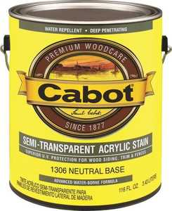 Cabot 1306 Exterior Acrylic Wood Stain Neutral Base Semi-Transparent Finish Gallon