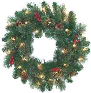 Holiday Basix 1613199 24 in Prelit Wreath With Clear Lights