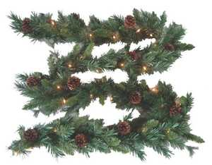 Holiday Basix 851714-H49873-01 9-Foot Canadian Pine Garland With Cones