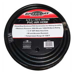 Speedway 9412 3/8 In Diameter 50 Ft 300 PSI PVC Air Hose