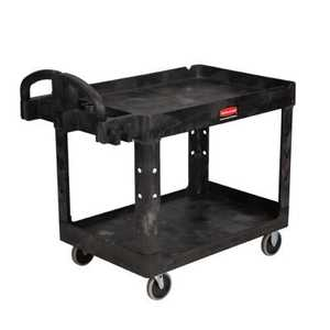 Rubbermaid 4520-88BLA Heavy Duty Utility Cart With Lipped Shelf