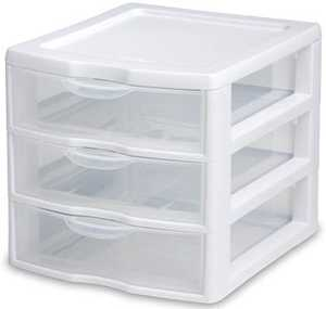 Sterilite 20738006 Small 3 Drawer White Framed Organizer
