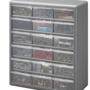 Stack-On 6531743 Stack-On Products Ds-18 Storage Cabinet 18 Drawer Sliver Gray