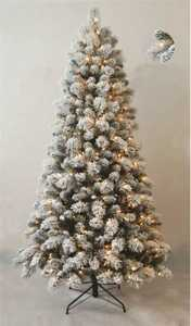 Santa's Forest Inc 69771 7 Ft Flocked Snowy Pine Pre-Lit Tree With Clear Bulbs