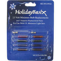 Holiday Basix 6149918 Multi-Color Mini Bulb Replacements 8 Pack