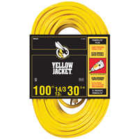 Coleman Cable 2888 14/3x100 ft Yel Jkt Extension Cord