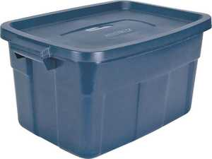Rubbermaid FG2212CPDIM 14 Gal Blue Mist Roughneck Tote Storage Box
