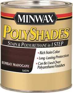 Minwax 61380444 PolyShades Bombay Mahogany Stain And Polyurethane Quart