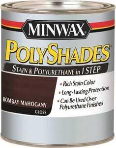 Minwax 61480444 PolyShades Bombay Mahogany Stain And Polyurethane Quart