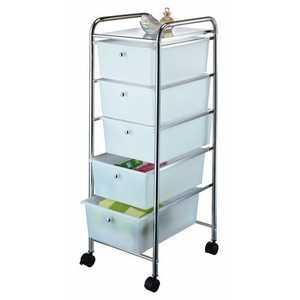 Homebasix G005-CH 5 Drawer Storage Cart Chrome