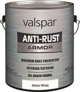 Valspar 21800 Anti-Rust Armor Interior/Exterior Oil Based Enamel Paint Gloss White Gallon