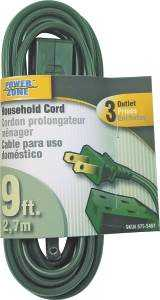 Power Zone OR780609 Ext Cord 16/2 Spt-2 Green 9 ft
