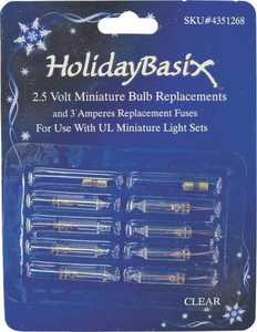 Holiday Basix U14Z102A Clear Mini Bulb Replacements 8 Pack