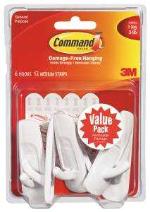 3M 17001-VP-6PK Hook Medium Command Value Pack