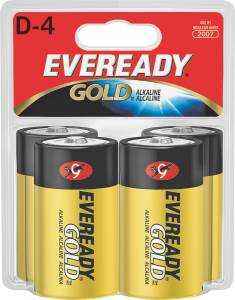 Energizer Battery A95BP-4 Evrdy Alkaline D Battery 4pk