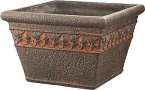 MintCraft PT-026 14-Inch Square Aged Bronze Decorative Planter