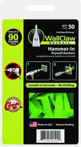 Wallclaw Anchors, Llc PCK-WC50-YS 50 Pack Anchors W/Screws