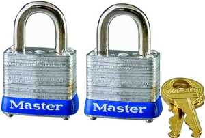 Master Lock 3T 1-1/2-Inch Pin Tumbler Steel Keyed Alike Padlock 2-Pack