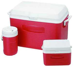 Rubbermaid Home 2A17-02-MODRD Red Cooler Combo Pack With 48-Quart Cooler, 5-Quart Cooler, And 1/2 Gal Jug