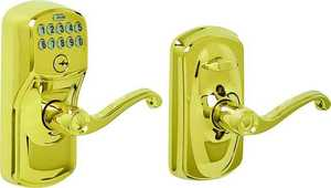Schlage Lock FE595V PLY/FLA 50 Electronic Entry Lever Bright Brass