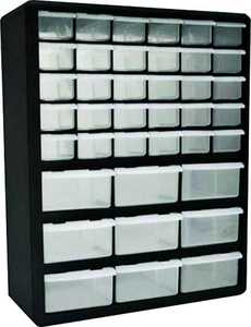 Homak HA01039001 39-Compartment Black Small Parts Organizer